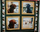 1 Yd Wildlife Pillow Panel Quilt Fabric Bird Hunting Dogs Retrievers Green Flaw