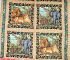 Wild Life Quilt Fabric Pillow Panel Out of Africa Jungle Elephant Lion Zebra BTY