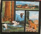 Wild Life Wallhanging Panel Quilt Fabric America Beautiful Horse Lion Eagle BTY