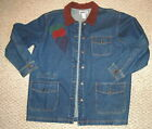Womens JEAN JACKET Haik's XL Heart Applique Brown Corded Collar LOOSE FIT LONG