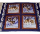 4 Wolf Pack Pillow Panels Fabric 100% Cotton wildlife Wolves Animals