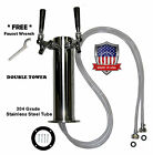 Double Tap Draft Beer Tower - MADE IN THE USA - Stainless Steel D4743SDT,.