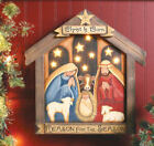CHRISTMAS NATIVITY SCENE Wooden Wall Hanging LIGHTS UP