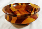 Vintage Hand Crafted Segmented Wood Footed Fruit Bowl