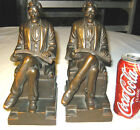 ANTIQUE LG. CLASSIC ARMOR BRONZE CLAD LINCOLN BUST ART STATUE SCULPTURE BOOKENDS