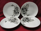 FOUR (4) I CHINA made in Japan Handpainted BLACK ROSES Pattern 5272 - SOUP BOWLS