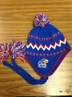 NCAA Team Apparel Kansas Jayhawks Pom Tassel Knit Beanie Hat - NWT Toddler 2-4T