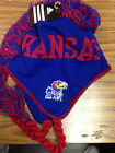 NCAA Team Apparel KANSAS JAYHAWKS Mohawk Tassel Knit Beanie Hat NWT - YOUTH