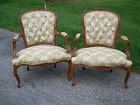 Pair of vintage Carved Fruit Wood Louis XV French Style Bergere Open Arm Chairs