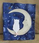 Ceramic Wall hanging cat and the moon Kimberly Smith pottery picture sitting