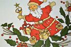 OLD ST NICK BELLRINGER VINTAGE GERMAN LARGE CHRISTMAS PRINT TABLECLOTH SANTA
