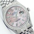 ROLEX MENS DATEJUST OYSTER PERPETUAL STAINLESS STEEL PINK M.O.P DIAMOND WATCH