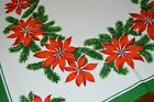 THE PROMINENCE OF PRETTY POINSETTIAS VTG GERMAN CHRISTMAS PRINT TABLECLOTH
