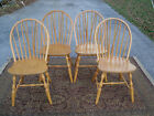 Nice Vintage set of 4 Maple Hoop Back Windsor Chairs Sturdy solid Chairs