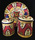 HAND PAINTED PIER 1 ONE VALLARTA 2 canisters and platter retired