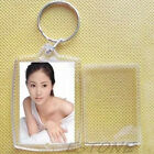 10 Transparent Blank Insert Photo Picture Frame Keyring Split Ring Keychain Gift
