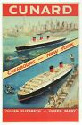 Queen Elizabeth & Queen Mary Cruise Ship Cunard Line, New York - Modern Postcard