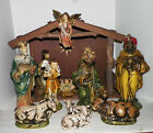 Vintage 12 Scale Paper Mache Japan Hand Painted Nativity Set Musical