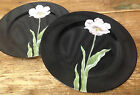2 Dinner Plates Fitz & Floyd Midnight Poppy Japan Pink Flower Black 23798 AS IS