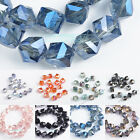 10 50pcs Cube Diagonal Hole 8mm Square Faceted Crystal Glass Charms Loose Beads