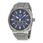 NEW ARMANI EXCHANGE MEN'S BLUE DIAL CHRONOGRAPH WATCH WITH STAINLESS BAND AX1800