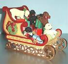 Lenox Labrador Holiday Sleigh Ride Sculpture 5 Puppies Hand Painted New