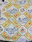 Spectrum Blue Yellow Peach French Country Chickens 3+Yds Screen Print Fabric