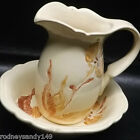 Beautiful Royal Haeger PItcher and Bowl Cream with Gold Colored Flowers