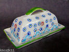 NEW Signature Housewares Stoneware BUTTER DISH PLATE Gypsy Green Blue Full Stick