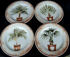 4 AMERICAN ATELIER WEST INDIES SALAD PLATES PALM TREES WHITE/GREEN
