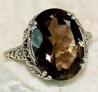 5CT Natural Smoky Topaz 925 Solid Sterling Silver Art Deco Filigree Ring Sz 8