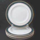 Royal Doulton Biltmore Rim Dinner Plate Green Blue Marble Edge with Gold Rings 6