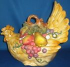 Fitz & Floyd Tuscan Villa Village Colorful Rooster Covered Vegetable Dish Leaves