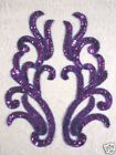 SEQUIN BEADED APPLIQUES PURPLE MIRROR PAIR SET 9 SEWING CRAFTS MOTIFS 0170