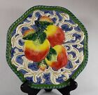 BEAUTIFUL FITZ & FLOYD FLORENTINE FRUIT PLATE BRAIDED APPLES VIBRANT COLORS!