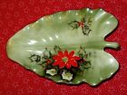 """ Lefton China Limited Edition Leaf shape Dish plate Poinsettia nuts candy 4394"