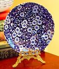 VINTAGE STAFFORDSHIRE CALICO SAUCER BLUE FLORAL MADE IN ENGLAND 5.5