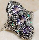 3CT Natural Amethyst & Fire Opal 925 Solid Sterling Silver Art Deco Ring Sz 7