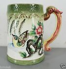 ANTIQUE ORNATE HAND PAINTED JAPANESE SIGNED BIRD FLOWER STEIN MUG GREEN CUP OLD