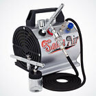 All in One 2 Airbrush Kit Dual Action Spray Hobby Paint Auto T Shirt Tattoo Cake