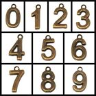 15x10mm Antique Brass Number Charm Beads 2pcs 0 TO 9 Free Shipping Findings