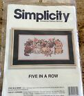 Simplicity Counted Cross Stitch Kit Five In A Row Kitty Cats
