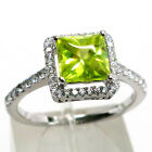 ATTRACTIVE 1.5 CT PERIDOT PRINCESS CUT 925 STERLING SILVER RING SIZE 5-10