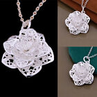 Women 925 Silver Plated Heart Flower Pendant Necklace Chain Jewelry NEW Fashion