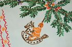ERZEBIRGE CHRISTMAS ORNAMENTS VTG GERMAN HAND EMBROIDERED TABLECLOTH PEARLIZED