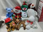 Lot of 6 Christmas Ty Beanie Babies Snowgirl Merrybelle Jingle Pup Chillings