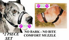 DOG GROOMING TRAINING No Bark No Bite Comfort Easy Fit Adjustable MUZZLE2pc SET