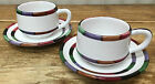 Circo Deruta Italy 2 Cup Saucer Sets Footed Stripes B Goldsmith Design Majolica