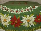 VINTAGE ROUND CIRCULAR w fringe CHRISTMAS POINSETTIA tablecloth cotton 54 X 54