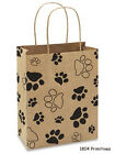 5 Paw Print Paper Gift Bags w Handles for Dog or Cat 1025 x 8 x 45